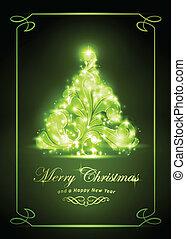 elegant, kerstmis kaart, gouden