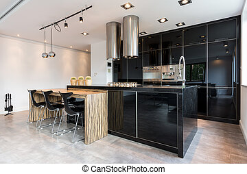 Elegant kitchen with dining area