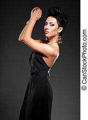 elegant, kleiden, frau, schwarz, modisch