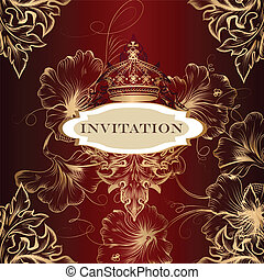 elegant, kroon, kaart, uitnodiging