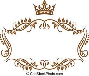 elegant, kunglig, medeltida, ram, med, krona