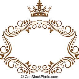 elegant, kunglig, ram, med, krona