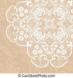 Elegant lacy doily - Vector template. Invitation card.