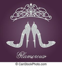 Elegant ladies high heels shoe shape, made with shiny diamonds.