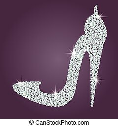 Elegant ladies high heels shoe shape, made with shiny...