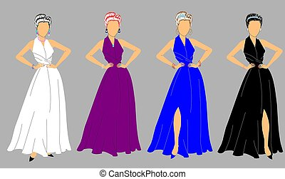 elegant ladies in gowns and jewelry