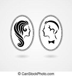 Elegant lady and gentleman symbol isolated on white ...