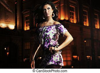 Elegant lady over a beautiful night city background