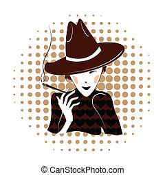 Elegant lady smoking