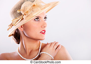 Elegant lady - A picture of a beautiful woman in a red...