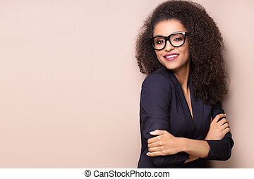 Elegant lady with afro hairstyle.