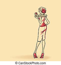 Elegant lady with clutch
