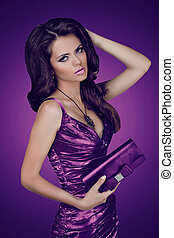 Elegant lady woman in dress with bag. Jewelry and Beauty. Fashion photo