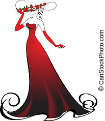 Elegant lady - Woman in gloves and an elegant long red dress