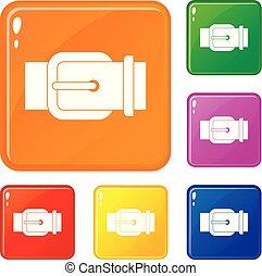 Elegant leather trousers belt icons set vector color