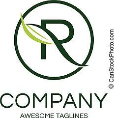 elegant letter R logo - elegant letter R with leaf and...