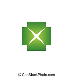 Elegant letter X in a plus sign with green gradient color