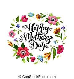 Изящная надпись Happy Mother's Day в цветочной рамке. Открытка с Днем матери. Векторный цветочный венок с маком, незабудкой, подсолнухом, цветком бабочки вокруг надписи.