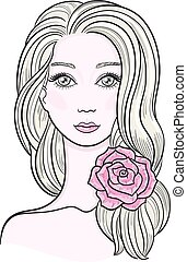 Elegant line art of a beautiful young woman with flower in her hair