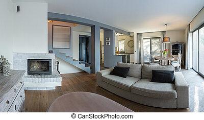 Elegant living room in luxury detached house