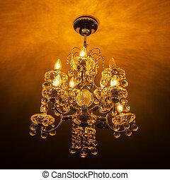 elegant, ljuskrona, kristall