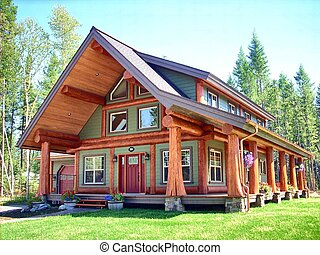 Elegant log house - a scene from British Columbia.