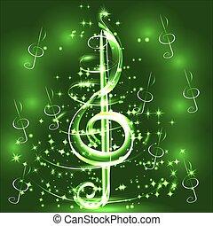 Elegant luminous contour of the treble clef on a dark ...