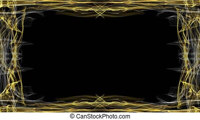 Elegant luxurious golden frame on black background. Animated...