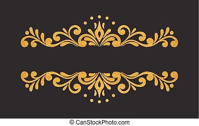 Elegant luxury vintage gold floral border