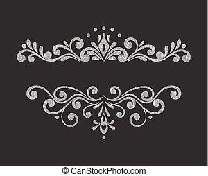 Elegant luxury vintage silver floral border