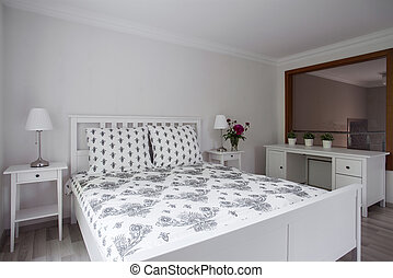 elegant, luxus, schalfzimmer