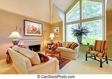 Elegant, Luxus, Wohnzimmer, Mit, Kaminofen, Und, Groß, Fenster.