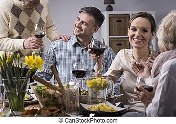 elegant, måltiden, familj