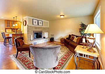 elegant, möbliert, wohnzimmer, mit, a, stein, hintergrund,...
