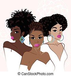 elegant, mörkhyad, tre kvinnor