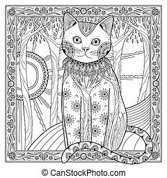 elegant magic cat coloring page in exquisite style