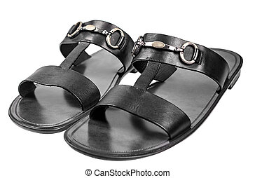 Elegant male black sandals with metal buckles isolated on white background
