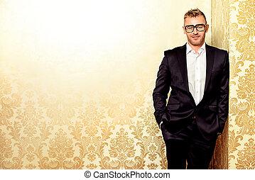elegant male model - Portrait of a handsome mature man in...