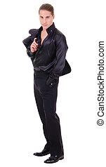 elegant, man, black , jonge, kostuum