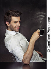Elegant man drinking the coffee with the WiFi steam -...