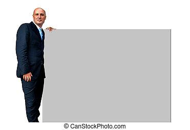 Elegant man holding a billboard