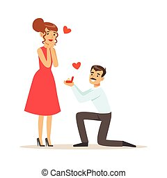 Elegant man proposing marriage to beautiful woman getting up on his knee colorful characters vector Illustration