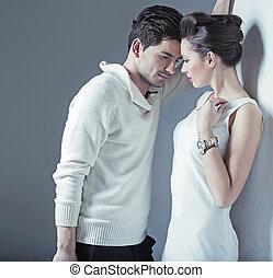 Elegant man trying to seduce a woman - Elegant guy trying to...