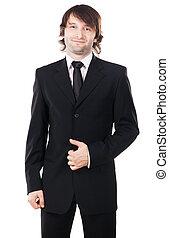 elegant, man, zwart kostuum