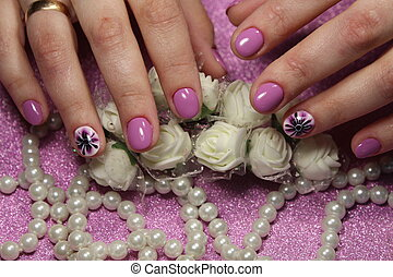 Elegant manicure design lilac with a pattern