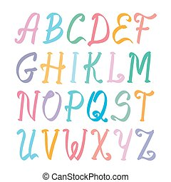 elegant marker alphabet set on white