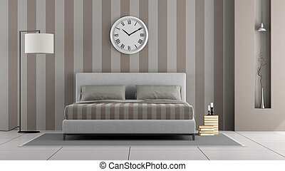 Elegant master bedroom with modern double bed and niche - 3d rendering