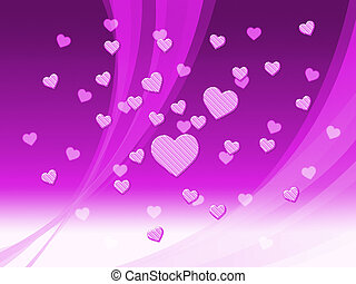 Elegant Mauve Hearts Background Means Delicate Passion Or...