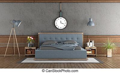 elegant, meister, schalfzimmer, mit, blaues, schalfzimmer