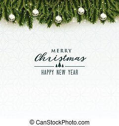 elegant merry christmas background with silver balls